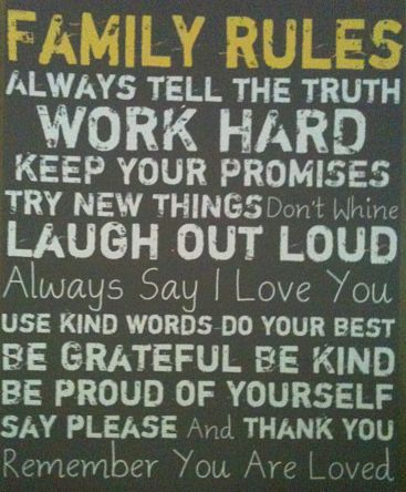 Family rules work hard promises laugh kind grateful please and thank you