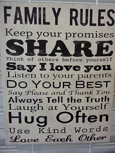 Family rules keep your promises do your best use kind words